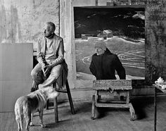 """Andrew Wyeth In the studio with his painting """"Battleground"""" and dog Nell. Photo by Peter Ralston, Andrew Wyeth, Jamie Wyeth, Famous Artists, Great Artists, Brandywine Valley, William Adolphe Bouguereau, Winslow Homer, Artists And Models, American Artists"""