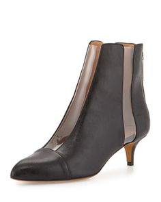 PVC-Panel Leather 40mm Bootie, Black by Alexa Wagner at Neiman Marcus.