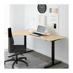 BEKANT Corner desk left sit/stand - birch veneer/black - IKEA