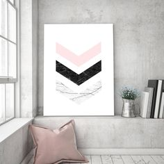 Excited to share the latest addition to my #etsy shop: chevron marble print, abstract wall art, Scandinavian print, geometric printable art, blush pink poster, nursery decor, Nordic wall decor