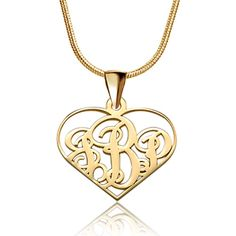 Sterling Silver - 925  sterling silver dangle heart monogram letter custom made any initial pendant necklace sterling silver pendant Image.
