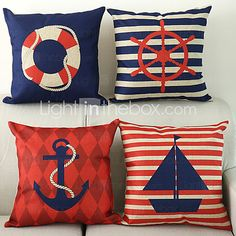 Nautical Pattern Cotton/Linen Decorative Pillow Cover nautical bedroom ideas - decorating nautical style bedrooms - nautical decor - sailing ship theme - coastal seaside beach theme - boat beds - beach house decorating - Travelers and seafarers - nautical Cheap Throw Pillow Covers, Pillow Covers Online, Cheap Pillows, Decorative Pillow Covers, Nautical Cushions, Nautical Bedding, Nautical Home, Nautical Style, Nautical Cushion Covers
