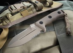 Microtech Crosshair Desert Tan Serrated Tactical Fixed Blade Knife