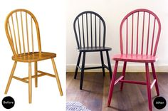 Antes y después. Dos sillas Windsor baratas · Before & after. Two cheap Windsor chairs | Dr. Livinghome. A modern DIY blog