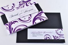 Elegant Purple Wedding Invitation with belly band and calligraphy by down2earthpaperworks on Etsy https://www.etsy.com/listing/117899767/elegant-purple-wedding-invitation-with