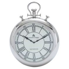 """Metal wall clock with pocket watch silhouette.  Product: Wall clockConstruction Material: MetalColor: SilverAccommodates: Batteries - not includedDimensions: 19"""" H x 15"""" DiameterNote: Not recommended for outdoor useCleaning and Care: Wipe with a dry cloth"""