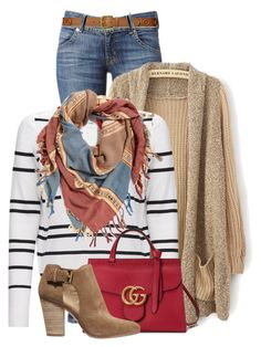"""""""Oakland"""" by tinayar ❤ liked on Polyvore featuring Hudson Jeans, 360 Sweater, BP., Gucci, MICHAEL Michael Kors and Lauren Ralph Lauren"""
