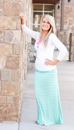 Mint Maxi https://thejeangirlshop.com ~ I would wear a higher-up undershirt. And change the jewelry.