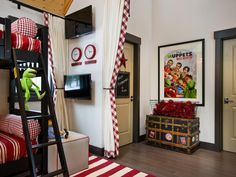 Shop the Look: Fun Gender-Neutral Kids Room with Bunk Beds and Red Accents >> http://photos.hgtv.com/rooms/viewer/bedroom/black-and-white/kids%27-americana_inspired-bedroom-with-bunk-beds-and-twin-tvs?soc=pinterest