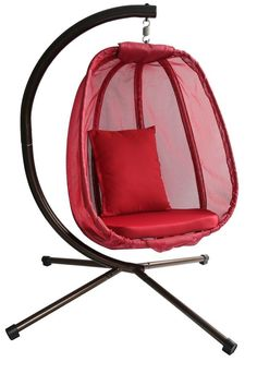 Features:  -Cushioned and egg-shaped.  -Durable, weather resistant fabric.  -Ideal for use on decks and patios.  Product Type: -Chair hammock.  Frame Finish: -Black.  Standing Frame Construction Mater