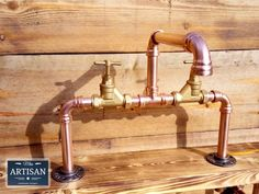 Stunning 22mm Copper Pipe And Brass Swivel Taps We can make just about any size. If the option you want is not listed please contact us to arrange. The tap in the picture has a spout reach of 23cm is 43cm wide from the outside edges of the fixing plates [approx] and the top of the handles measure Bath Taps, Sink Faucets, Large Galvanized Tub, Mad Men Decor, Copper Faucet, Wall Mounted Taps, Belfast Sink, Water Tap, Rainfall Shower