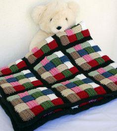 Basket weave afghan blanket crochet thick lap throw  via Etsy.