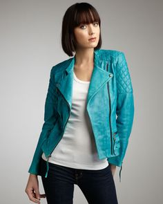 Quilted-Detail Leather Jacket. The color!!