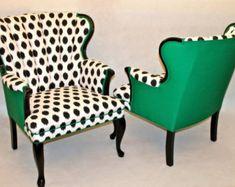 VENDU-CAN REPLICATEVintage Shell chaise en lin vert par Element20