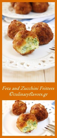 Feta and Zucchini Fritters | These fritters have three types of cheese, zucchinis and fresh dill. culinaryflavors.gr