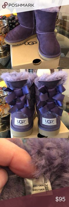 UGG boots Toddler size 7 Gorgeous toddler UGG boots.  Size 7.    Purple!!!!!💜💜💜💜. Excellent condition.   Honestly , they are truly like new.   Always open to questions.     These are great shoes.   Toddlers can easily put them on and that makes them feel successful. UGG Shoes Boots