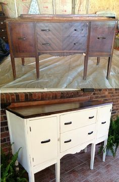 Before & After...Repurposed Buffet into TV/Media Cabinet  by Bull Creek Primitives