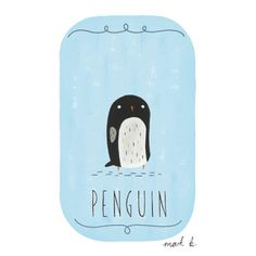 Penguin - 6x4 art print - Available in pink, peach, cream, green, teal, blue & purple - Childrens art