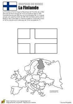 Image du drapeau de la Finlande, coloriage pour enfants