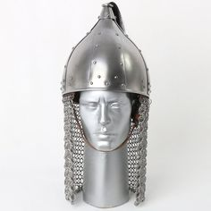 Viking Mask Helmet With Chain Mail Medieval Armor Role Free Stand Medieval Armor, Chain Mail, Making Out, Vikings, Helmet, Free, Helmets, The Vikings, Chain Letter