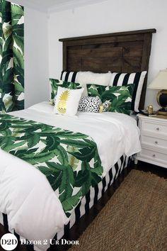 Palm Leaf, Black & White Stripe Custom Designer Apartment Bedding Collection #LuxuryBeddingBlack