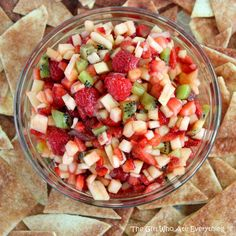 Fruit Salsa with Baked Cinnamon Chips — use what fruits you have on hand. I often pull out my frozen raspberries and blueberries when making this recipe in the winter. The cinnamon chips are made with soft tortilla shells. They're easy and delicious. #fruitsalsa #cinnamon #fruitrecipe