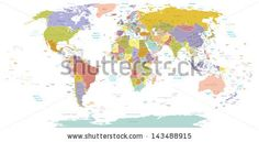 High Detail World map.All elements are separated in editable layers clearly labeled. Vector - stock vector