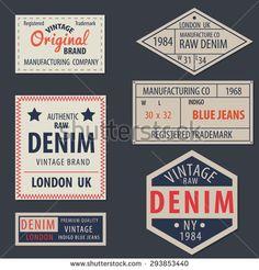 vintage  original blue jeans raw denim labels,genuine exclusive brands,vector illustration