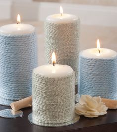 Pretty way to dress up plain candles with yarn for easy home decor creativitymadesimple diy candle holders tall diy candle wax recipe diy candle pillars # Diy Candles, Pillar Candles, Candle Wax, Candle Craft, White Candles, Creation Bougie, Diy Craft Projects, Diy Crafts, Sewing Projects