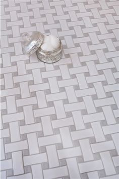 Basket Weave- Ceramic Glossy White- Bathroom Tile