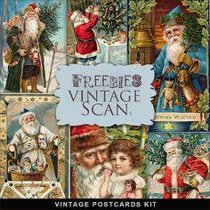 Christmas printables | Vintage Xmas Post Cards Kit. FarFarHill.
