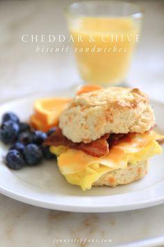 Jenny Steffens Hobick: Cheddar, Chive & Bacon Biscuit Breakfast Sandwiche...