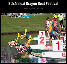 8th Annual Dragon Boat Festival | Saturday, April 30, 2016 | Market Common | Myrtle Beach, South Carolina | Dragon boating is the fastest-growing international team water sport today, featuring boats of twenty (20) paddlers and one (1) drummer in a competition to paddle across the finish line with the fastest time. Dragon Boat Race Festivals are visually-spectacular, exciting events held around the world. | Click on the pin for more info.