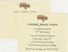 $15.00.  Jeep Stationery and Invitations.  printed on 100% recycled card stock