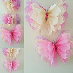 "2 x14"" party girls birthday party wedding baby shower hanging wall butterfly butterflies decorations party bag favors: Amazon.co.uk: Toys & Games"