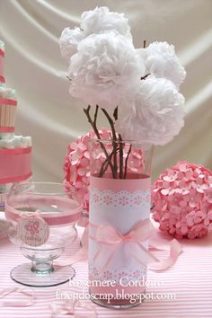 104 Centerpieces for Beautiful and Original Girl Baptism Baby Shower Decorations, Table Decorations, Ballerina Party, Ideas Para Fiestas, Diy Party, Paper Flowers, Party Time, Diy And Crafts, Bridal Shower