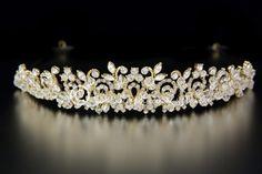 Swarovski Crystal Wedding Tiara with Rhinestones in 14K Gold from Cassandra Lynne