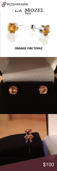 ORANGE FIRE TOPAZ STUDS NEW 3 CTW ASSCHER CUT ORANGE TOPAZ IN SOLID STERLING SILVER WITH BUTTERFLY BACKS STONE MEASURES APPROX 5MM X 5MM THESE JEMS RETAIL AT $450 A TOTAL STEAL includes black velvet gift LA MOZEL PARIS Jewelry Earrings