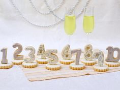 These countdown cookies are just as fun for a New Year's party centerpiece as they are for your guests to take home as favors.