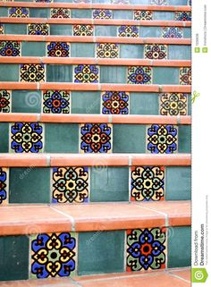 6x12 super saltillo tile with 2x2 talavera decorative tiles as inserts on a patio i love this. Black Bedroom Furniture Sets. Home Design Ideas