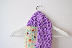 Crochet and sewn infinity scarf - spring - summer - fall - fashion, circle scarf, loop, shawl, - violet and green