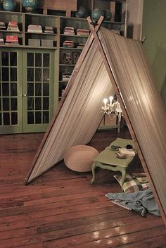 how awesome to have a tent in your interior design 2012 house design design design home design Indoor Tents, Indoor Camping, Camping Indoors, Indoor Play, Tent Camping, Glamping Tents, Glam Camping, Indoor Picnic, Camping Places
