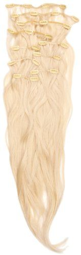 Love Hair Extensions Thermofibre Silky Straight 10-Piece Full Head Set 18-inch Pure Blonde