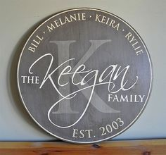 """Perfect Wedding, Anniverary, Housewarming or Realtor Gift - Personalized Established Family Name Sign - Monogram Initial Round Sign - 18"""" Wood Sign"""