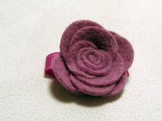 Velcro Hair Clip  Felt Rose  Lilac  Toddler by TurtleTotsDesigns, $3.00