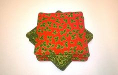 Christmas holly coasters, cotton fabric, red and green, pack of eight £6.99