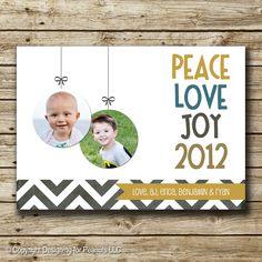Chevron Christmas or Holiday Photo Card, minimalist, contemporary, modern, ornaments, peace, love, joy, digital, printable. $5.00, via Etsy.