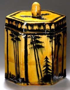"""William Percival Jervis (1849-1925) - For Briarcliff (1904-1913) - Landscape Covered Jar. Glazed Pottery. Ossining, New York (Most Likely Made in Oyster Bay, New York). Circa 1904. 6-3/4"""" x 4-1/2""""."""