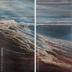 My Rough Beach Painting - Set of two 24in x 48in canvases.