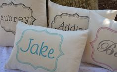 Pillows for each lady's chair?  Children's name personalized custom pillow COVER by FeatherHen, $21.00